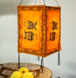 Lokta Papier Hänge-Lampenschirm, Deckenleuchte aus handgeschöpftem Papier - Fisch orange