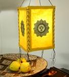 Lokta Papier Hänge-Lampenschirm, Deckenleuchte aus handgeschöpftem Papier - lucky Sonne gelb