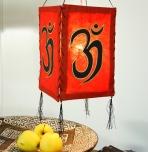 Lokta Papier Hänge-Lampenschirm, Deckenleuchte aus handgeschöpftem Papier - Om rot
