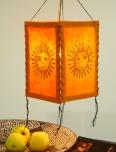 Lokta Papier Hänge-Lampenschirm, Deckenleuchte aus handgeschöpftem Papier - Sonne orange