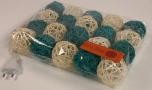Rattan Ball LED Kugel Lampion Lichterkette - türkis/weiß