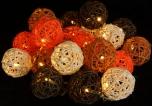 Rattan-Ball LED Lichterkette `Sommer Farbe`