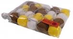 Stoff Ball Lichterkette LED Kugel Lampion Lichterkette - gelb/braun/weiß