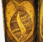 Lokta Papier Tischlampe, eckige Tischleuchte - Glücks Fische gelb