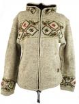 Strickjacke Wolljacke Nepal Jacke F 4 naturweiß