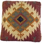 Arabisch- Marokkanischer Kelim Boden Hocker, orientalischer Sitz mit Holzgestell, runde Beine - rot/natur