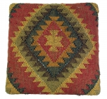 Arabisch- Marokkanischer Kelim Boden Hocker, orientalischer Sitz mit Holzgestell, runde Beine - rot/gelb