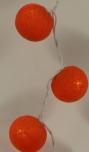 Stoff Ball LED Kugel Lampion Lichterkette - orange
