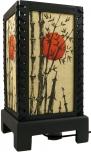 Transparente Deko Tischleuchte aus Holz & handgeschöpftem Papier - Bambus/gelb