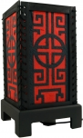 Transparente Deko Tischleuchte aus Holz & handgeschöpftem Papier - Mandala/rot