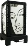 Transparente Deko Tischleuchte aus Holz & handgeschöpftem Papier - Buddha/weiß