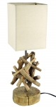 Tischleuchte / Tischlampe Bilbao,Treibholz, Baumwolle, in Bali handgemacht aus Naturmaterial - Modell Bilbao