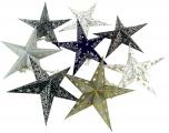 Stern Lichterkette, Ministern set - schwarz-weiß-grau glitter