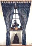 Vorhang, Gardine (1 Paar Vorhänge, Gardinen) mit Schlaufen, Mandala Motiv - blau/türkis