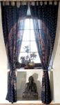 Vorhang, Gardine (1 Paar Vorhänge, Gardinen) mit Schlaufen, Mandala Motiv - blau/lila/orange