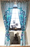 Vorhang, Gardine (1 Paar Vorhänge, Gardinen) mit Schlaufen, Mandala Motiv - weiß/türkis/blau