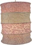 runde Papier Hängelampe, Lokta Papierlampenschirm Kailash, handgeschöpftes Papier - rosa/pastell