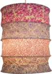 runde Papier Hängelampe, Lokta Papierlampenschirm Kailash, handgeschöpftes Papier - pink/lila