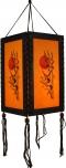 Thai Deko Hängeleuchte, Stimmungsleuchte aus Holz & handgeschöpftem Papier - Bambus/orange
