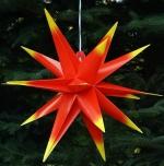 3D Außenstern Ø 55 cm, Weihnachtsstern, Faltstern Kaspar mit 18 Spitzen incl. 7 m Kabel & LED Leuchtmittel - Kaspar rot/gelb