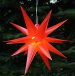 3D Außenstern Ø 55 cm, Weihnachtsstern, Faltstern Kaspar mit 18 Spitzen incl. 7 m Kabel & LED Leuchtmittel - Kaspar rot