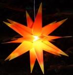 Wetterfester faltbarer 3D Außenstern Ø 55 cm inkl. Leuchtmittel, 7 m Kabel, Popup Stern aus stabiler Plastik für Garten & Balkon - rot/gelb