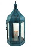 Antikblaue orientalische Metall/Glas Laterne in marrokanischem Design, Windlicht