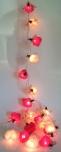 Blüten LED Lichterkette 20 Stk.Rose - rot/weiß