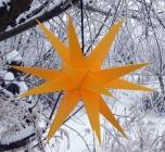 Melchior Outdoor II Gelb, sehr stabiler 3D Außenstern Ø 60 cm, mit 20 Spitzen, inkl. 4 m Außenkabel