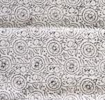 Hangewebter Blockdruck Teppich aus natur Baumwolle mit traditionellem Design - weiß/schwarz Muster 23