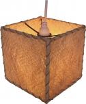 Deckenlampe / Deckenleuchte `Cubus Rinde` - in Bali handgemacht aus Naturmaterial, Kokosfaser,