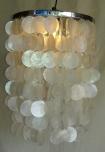 Deckenlampe / Deckenleuchte Samoa chrome, Muschelleuchte aus hunderten Capiz, Perlmutt-Plättchen
