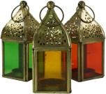 Glaslaterne, Windlicht, Teelichthalter aus Messing in 6 Farben