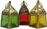 Glaslaterne, Windlicht,Teelichthalter aus Messing in 7 Farben