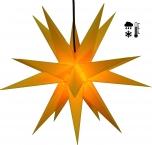 Stabiler Wetterfester 3D Weihnachtsstern, Außenstern, Steckstern für Garten & Balkon Ø 60 cm, mit 20 Spitzen, inkl. 4 m Außenkabel - Hartplastik gelb