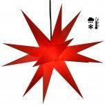 Stabiler Wetterfester 3D Weihnachtsstern, Außenstern, Steckstern für Garten & Balkon Ø 60 cm, mit 20 Spitzen, inkl. 4 m Außenkabel - Hartplastik rot
