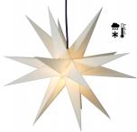 Stabiler Wetterfester 3D Weihnachtsstern, Außenstern, Steckstern für Garten & Balkon Ø 60 cm, mit 20 Spitzen, inkl. 4 m Außenkabel - Hartplastik weiß