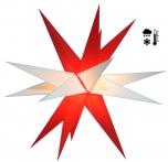 Stabiler Wetterfester 3D Weihnachtsstern, Außenstern, Steckstern für Garten & Balkon Ø 60 cm, mit 20 Spitzen, inkl. 4 m Außenkabel - Hartplastik rot/weiß