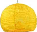 Halbrunder Lokta Papierlampenschirm, Hängelampe Corona Ø 40 cm - gelb