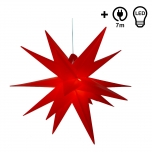 Wetterfester faltbarer 3D Außenstern Ø 55 cm inkl. Leuchtmittel, 7 m Kabel, Popup Stern aus stabiler Plastik für Garten & Balkon - Faltstern rot