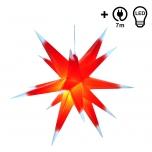 Wetterfester faltbarer 3D Außenstern Ø 55 cm inkl. Leuchtmittel, 7 m Kabel, Popup Stern aus stabiler Plastik für Garten & Balkon - Faltstern rot/weiß