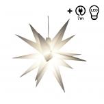 Wetterfester faltbarer 3D Außenstern Ø 55 cm inkl. Leuchtmittel, 7 m Kabel, Popup Stern aus stabiler Plastik für Garten & Balkon - Faltstern weiß
