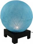 Kugel Tischleuchte mit MDF Ständer aus Baumwollfäden - hellblau