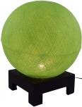 Kugel Tischleuchte mit MDF Ständer aus Baumwollfäden - hellgrün