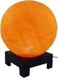 Kugel Tischleuchte mit MDF Ständer aus Baumwollfäden - orange