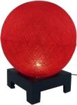 Kugel Tischleuchte mit MDF Ständer aus Baumwollfäden - rot