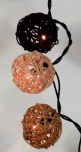 Rattan Ball LED Kugel Lampion Lichterkette - schokobraun