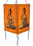 Lokta Papier Hänge-Lampenschirm, Deckenleuchte aus handgeschöpftem Papier - Buddha orange