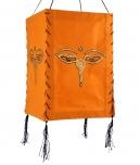 Lokta Papier Hänge-Lampenschirm, Deckenleuchte aus handgeschöpftem Papier - Buddhas Augen orange