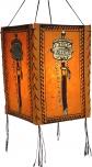 Lokta Papier Hänge-Lampenschirm, Deckenleuchte aus handgeschöpftem Papier, Gebetsmühle - orange